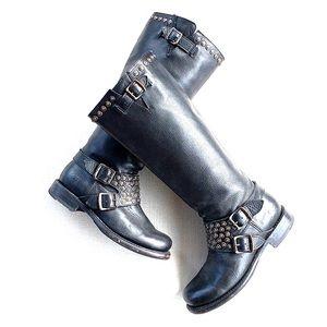 FRYE Jenna Tall Studded Black Leather Riding Boot